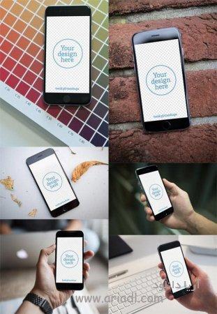 تصاویر آیفون 6 جهت طراحی - 6 iPhone 6 Mock up Templates