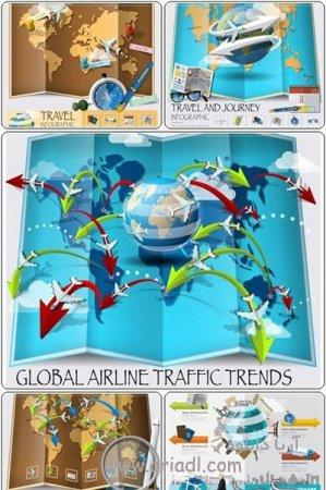 اینفوگرافی نقشه های هوایی جهان